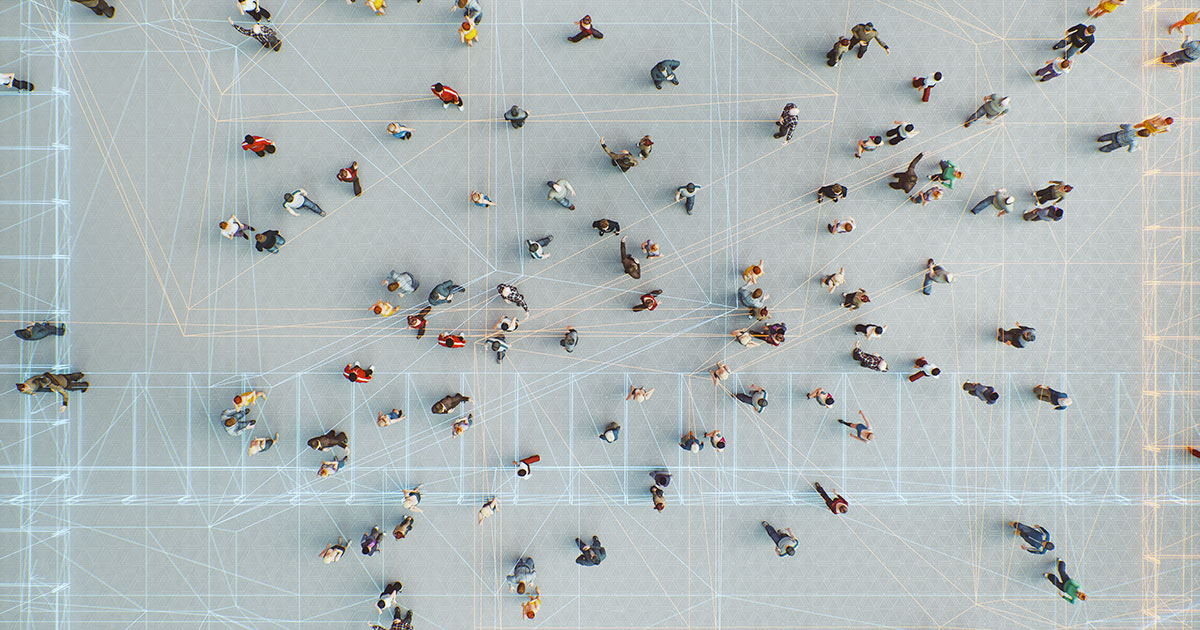 Data strings connecting people on a square