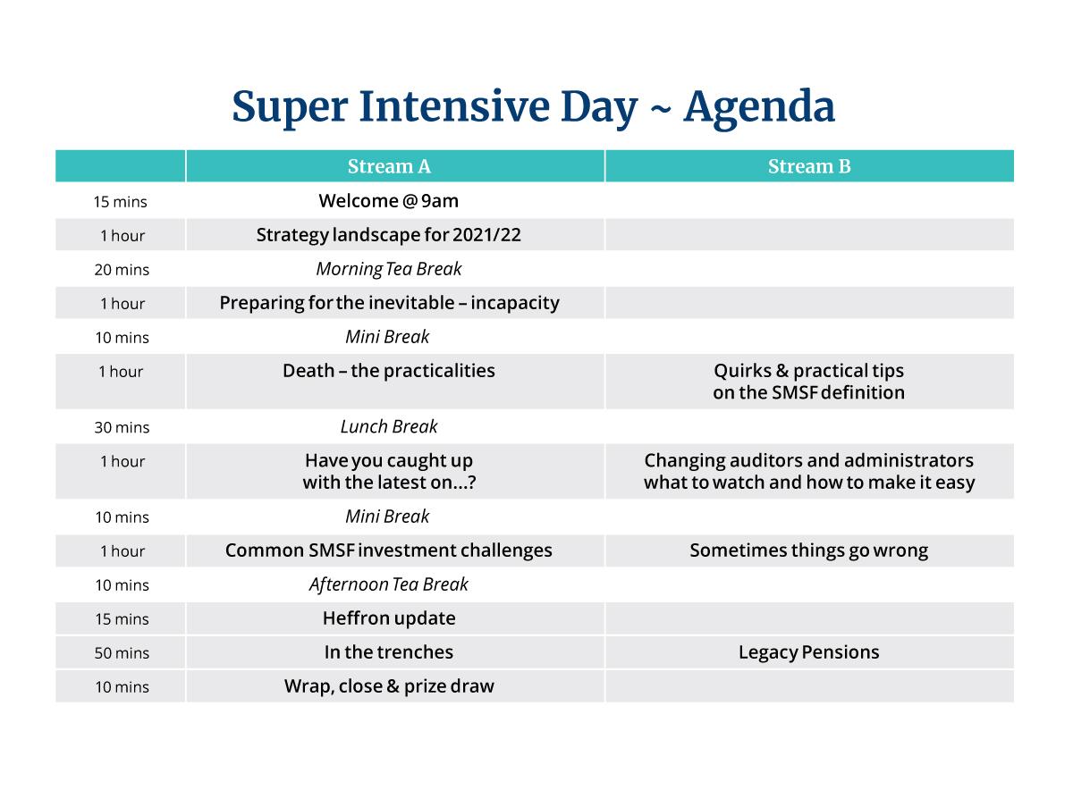 Super Intensive Day 2021 – Agenda
